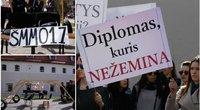 LEU studentai piketuoja prieš ŠMM siūlomus pokyčius  (nuotr. Tv3.lt/Ruslano Kondratjevo)