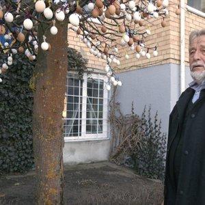 Palangos menininkas kuria įspūdingus dirbinius iš kiaušinių: praeivius stebina kiaušinių medis