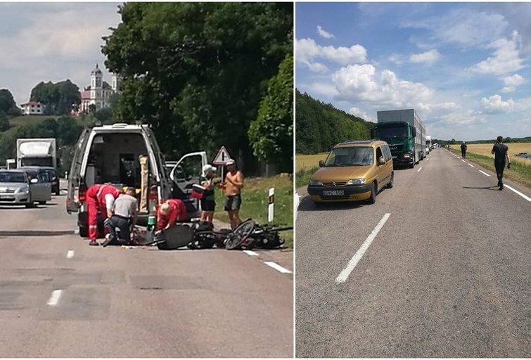 Kauno rajone sunkiasvoris partrenkė du dviratininkus, uždarytas eismas (nuotr. Kur stovi policija Kaune) (nuotr. facebook.com)