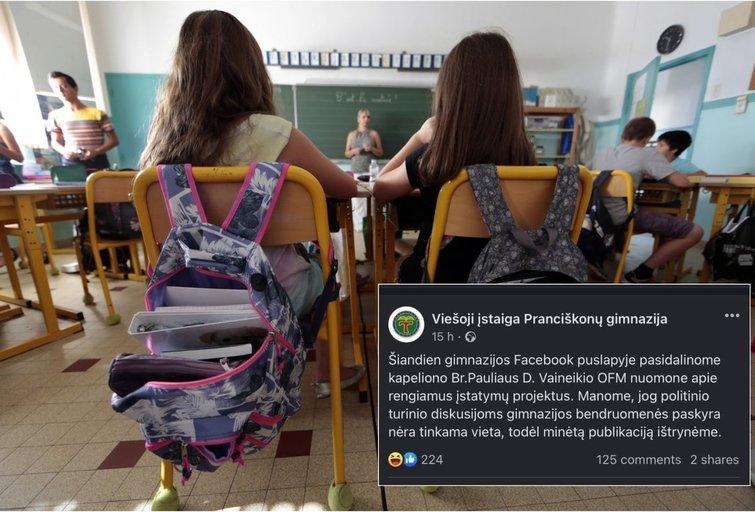 Kretingos Pranciškonų gimnazijos kapelionas sukėlė skandalą internete: kaltina nesantaikos kurstymu (tv3.lt fotomontažas)