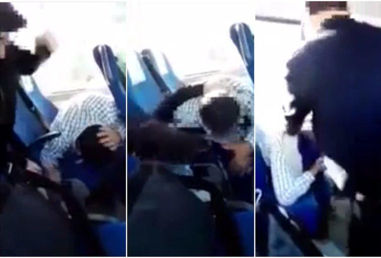 Autobuso vairuotojas mušdamas migrantą: aš nekenčiu tavęs, prakeikta kiaule! (nuotr. YouTube)