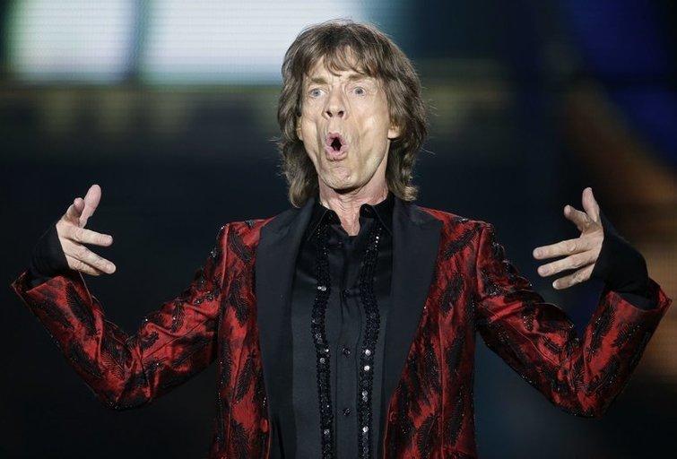 "Mickas Jaggeris grupės ""The Rolling Stones"" koncerte Madride birželio 25 d.,  (nuotr. SCANPIX)"