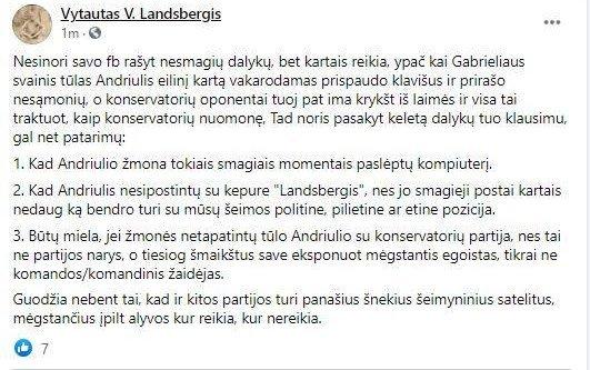 Vytauto V. Landsbergio įrašas