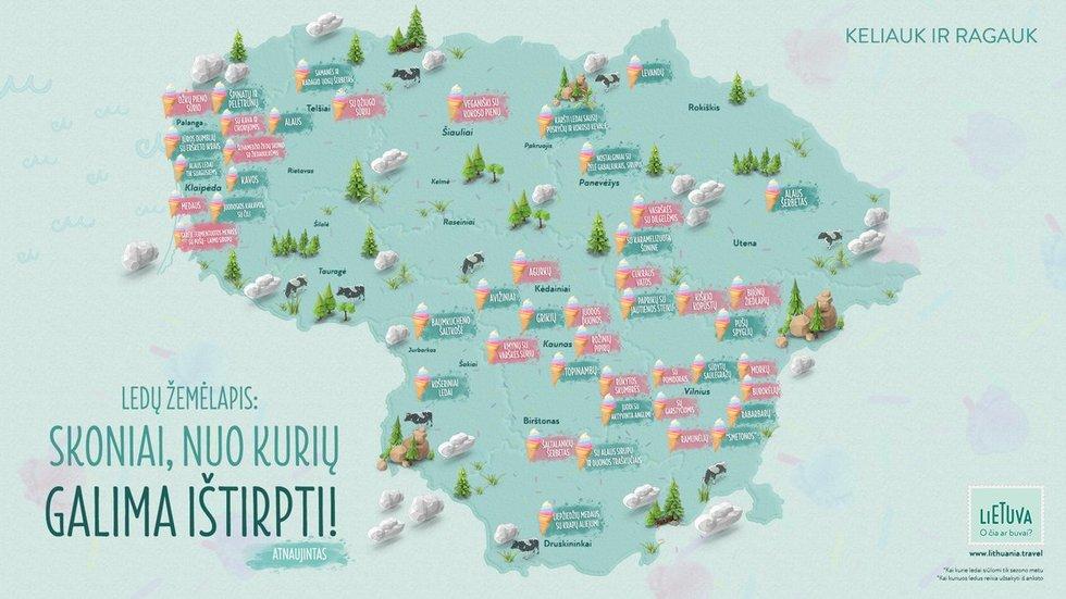 Ledų žemėlapis (Nuotr. Keliauk Lietuvoje)