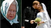 Karalienė Elizabeth II, princas Harry ir Meghan Markle (tv3.lt fotomontažas)