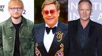 Ed Sheeranas, Eltonas Johnas, Stingas (nuotr. SCANPIX) tv3.lt fotomontažas