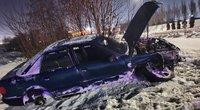 """Avarija sostinėje – """"Audi"""" dideliu greičiu rėžėsi į taksi automobilį  (nuotr. Broniaus Jablonsko)"""