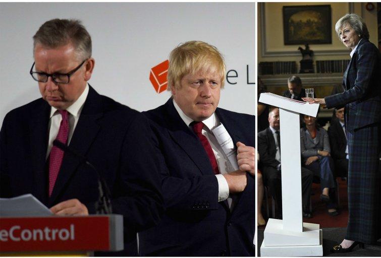 Konservatorių kandidatai: Michaelas Gove'as, Borisas Johnsonas ir Theresa May (nuotr. SCANPIX) tv3.lt fotomontažas