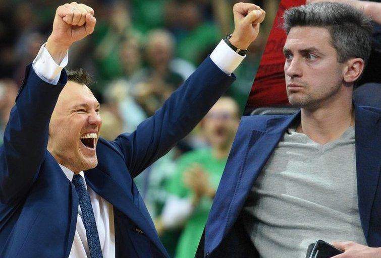 Šarūnas Jasikevičius ir Giedrius Gustas (nuotr. Fotodiena.lt)