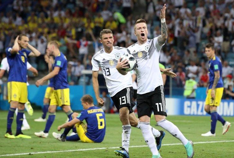 Vokietija – Švedija rungtynių akimirka (nuotr. SCANPIX)