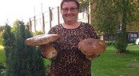 Aristavos kaimo gyventoja Elvyra Činikienė pelnytai visam kaimui gali pasigirti, kad rado tikrą grybų karalių – baravykas svėrė net 1,651 kg. / Dimitrijaus Kuprijanovo nuotr.