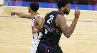 """Siautėjęs Embiidas buvo arti stebuklingo metimo, bet """"Suns"""" palaužė """"76ers"""" (nuotr. SCANPIX)"""