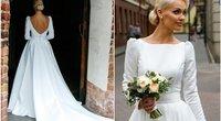 Gerbėjai negali atplėšti akių nuo V. Sutkutės vestuvinės suknelės detalės (nuotr. Tv3.lt/Ruslano Kondratjevo)