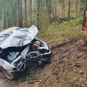 Vilniuje BMW rėžėsi į medį: automobilis stipriai sumaitotas, vairuotojas išgabentas į ligoninę