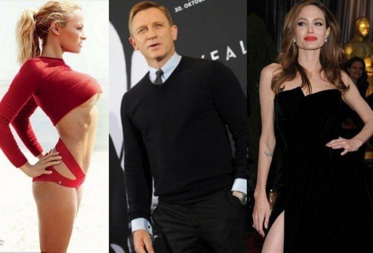 Pamela Anderson, Danielis Craigas ir Angelina Jolie (nuotr. Balsas.lt)