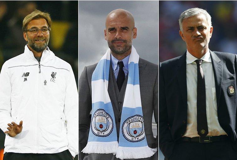 Jurgenas Kloppas, Pepas Guardiola ir Jose Mourinho (nuotr. SCANPIX) tv3.lt fotomontažas