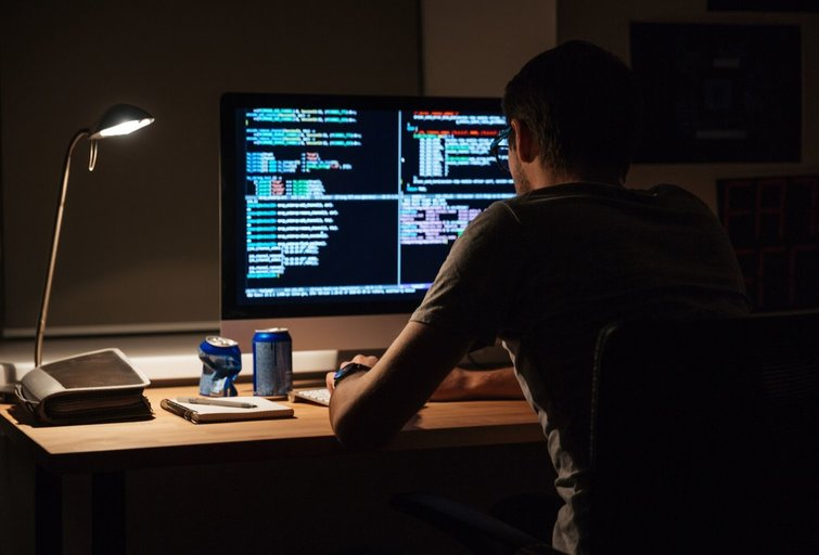 vyras prie kompiuterio (nuotr. 123rf.com)