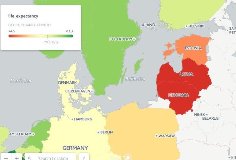 Žemėlapyje užfiksuota vidutinė žmonių gyvenimo trukmė