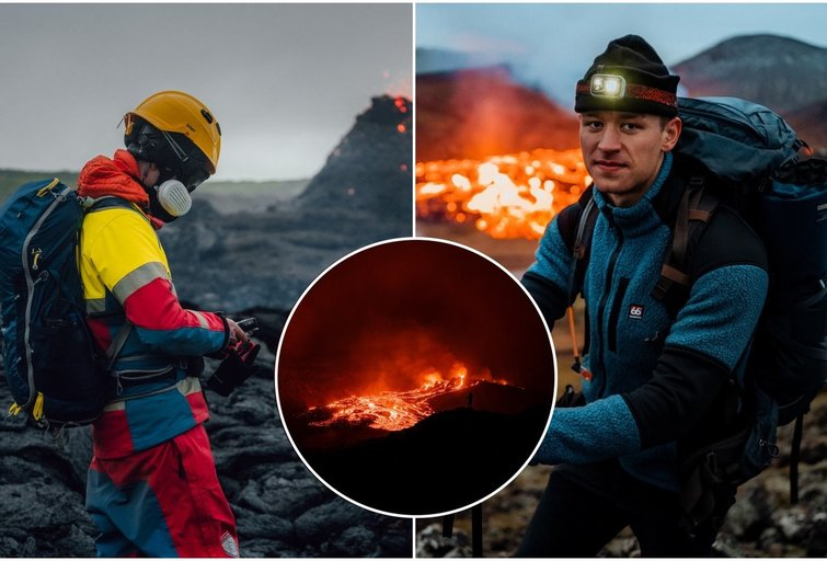 Islandijoje gyvenantis Deividas nepabūgo aktyvaus ugnikalnio: išsirengė į įspūdingą naktinį žygį (nuotr. asm. archyvo)