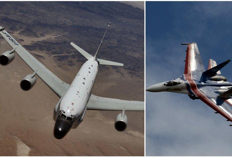 """Rusijos naikintuvas virš Baltijos jūros praskrido """"per 5 pėdas"""" šalia JAV žvalgybinio lėktuvo (nuotr. SCANPIX) tv3.lt fotomontažas"""