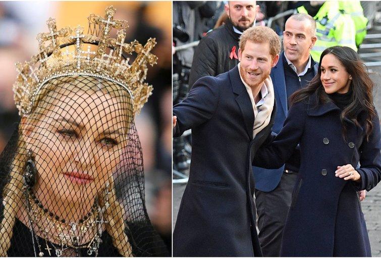 Madonna, princas Harry ir Meghan Markle (tv3.lt fotomontažas)