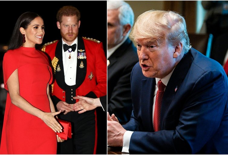 Meghan Markle ir princas Harry, Donald Trump (tv3.lt fotomontažas)