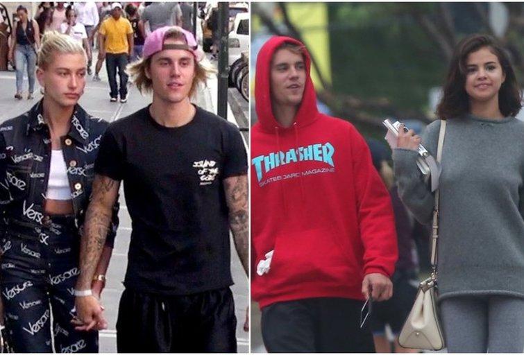 Justinas Bieberis su Hailey Baldwin ir Selena Gomez (tv3.lt fotomontažas)