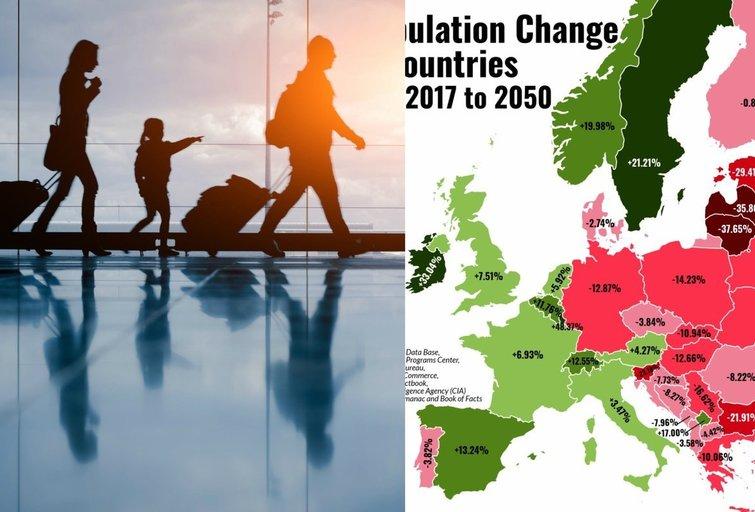 Gyventojų skaičiaus pokyčiai (tv3.lt fotomontažas)