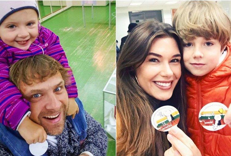Rinkimai.Benediktas Vanagas su dukra ir Justina Ieva Steponavičiūtė su broliu (nuotr. asm. archyvo)
