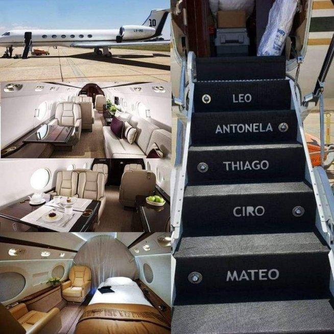 Lionelio Messi lėktuvas (nuotr. Twitter)