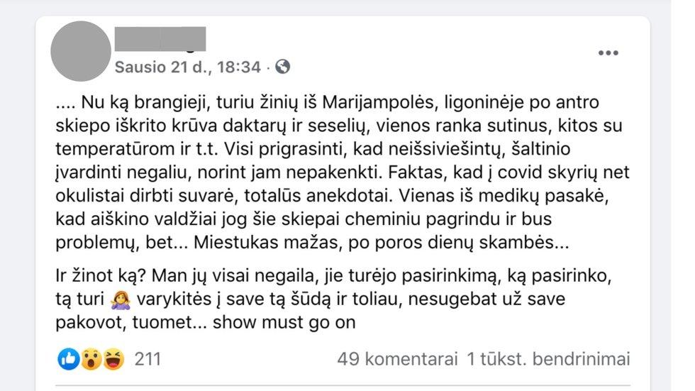 Internete plinta žinutė apie negaluojančius Marijampolės medikus