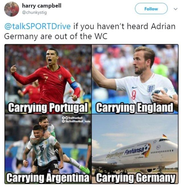 Pasaulis šaiposi iš vokiečių nesėkmės (nuotr. Twitter)