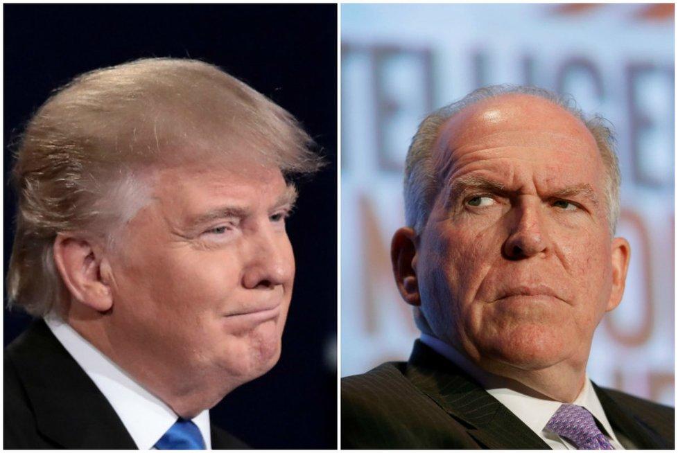 Išrinktasis JAV prezidentas Donaldas Trumpas ir CŽV direktorius Johnas Brennanas (nuotr. SCANPIX) tv3.lt fotomontažas
