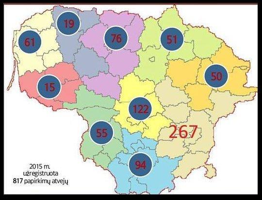 Bandymų papirkti policijos pareigūnus 2015 m. žemėlapis (STT nuotr.) (nuotr. facebook.com)