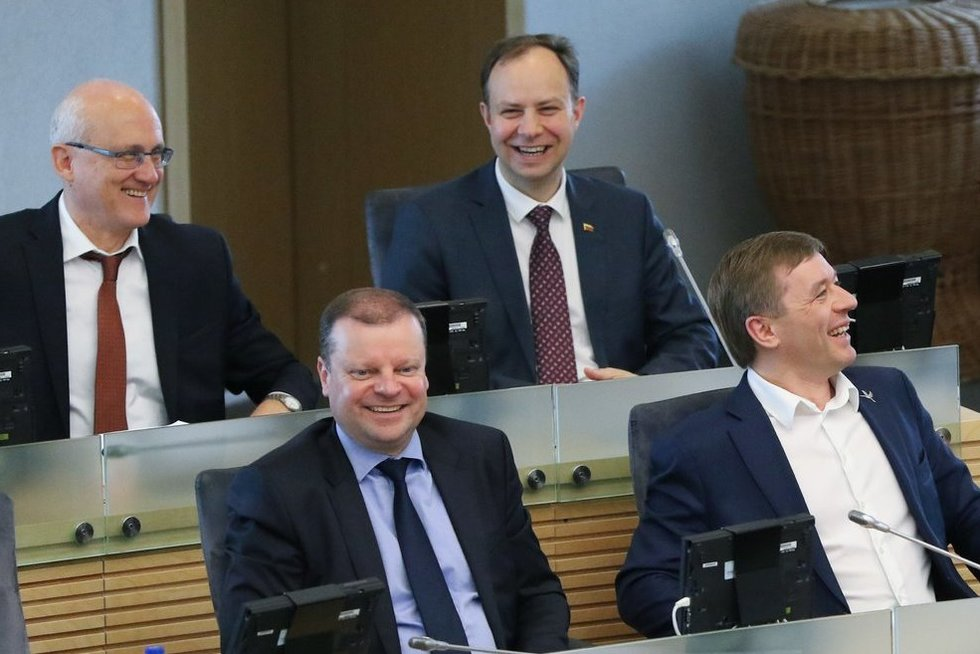 Stasys Jakeliūnas, Saulius Skvernelis, Aurelinus Veryga, Ramūnas Karbauskis (Fotodiena/Rokas Lukoševičius)