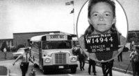 JAV mokyklos autobusas, 1960-ieji ir B. Spencer sulaikymo metu 1979-aisiais (nuotr. Wikipedia ir tv3.lt fotokoliažas) (nuotr. Vida Press)