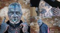 72 metų Wolfgangas Kirschas ryškiai išsiskiria iš visų kitų – net 98% jo kūno dengia tatuiruotės (nuotr. Twitter)