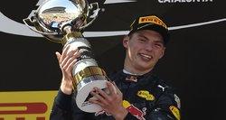 """""""Formulės-1"""" lenktynėse Ispanijoje istorinę pergalę iškovojo Maxas Verstappenas"""
