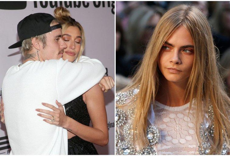 Justin Bieber, Hailey Baldwin ir Cara Delevigne (tv3.lt fotomontažas)