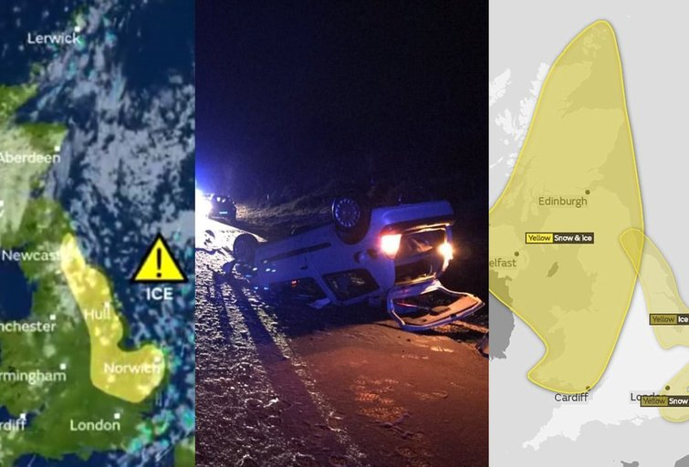 Kelių chaosas Anglijoje (tv3.lt fotomontažas)