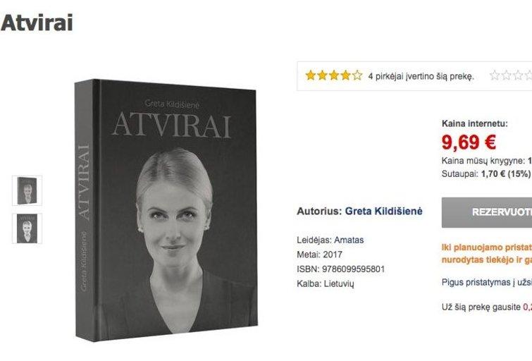 """Gretos Kildišienės knyga """"Atvirai"""" (nuotr. facebook.com)"""