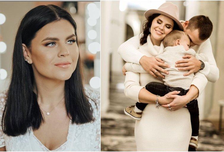 Inga Žuolytė su sūnumi Gabrieliumi ir vyru Adomu (tv3.lt fotomontažas)