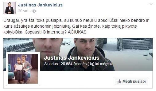 """Justinas Jankevičius pasipiktino netikra jo anketa (nuotr. asmeninio albumo (""""Facebook"""")"""