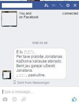 Jonatano fanės žinutė Miglei Pivoriūnaitei (nuotr. facebook.com)
