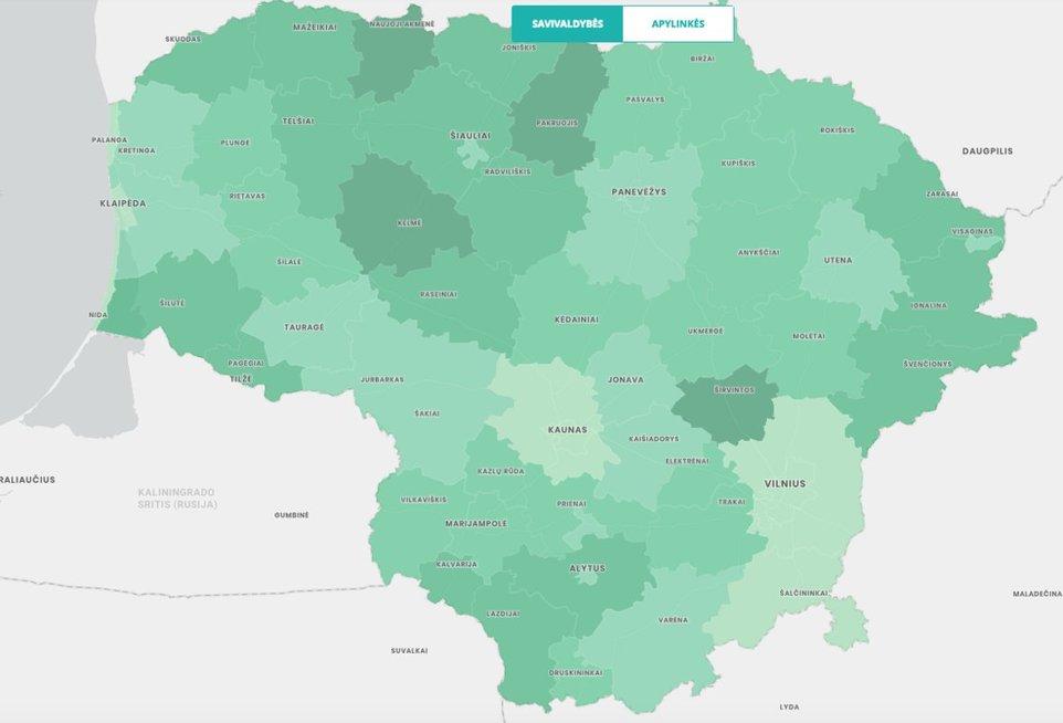 S. Skvernelio prezidento rinkimuose gautų balsų žemėlapis (nuotr. vrk)