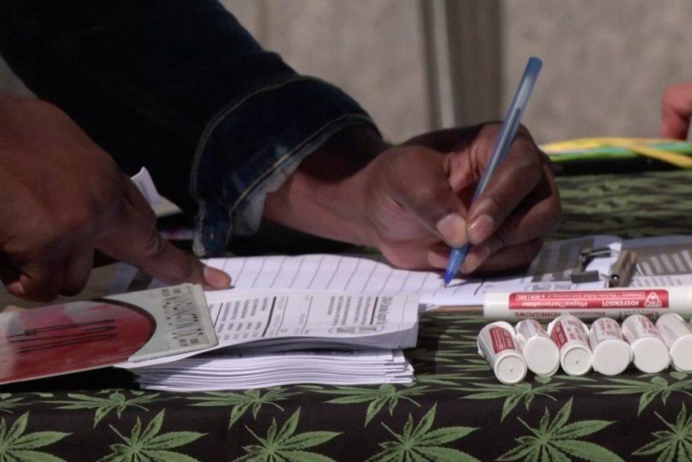 Vašingtono gyventojai skiepytis skatinami marihuanos suktinėmis (nuotr. stop kadras)