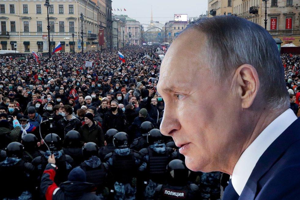 Protesto akcijos Rusijoje organizatoriai: Putinui galutinai nučiuožė stogas (nuotr. SCANPIX) tv3.lt fotomontažas