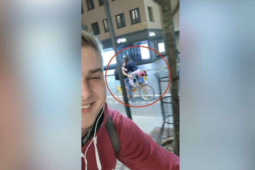 Pamatęs, kaip Vilniaus centre porelė važinėjasi dviračiu, vaikinas griebė kamerą (nuotr. stop kadras)