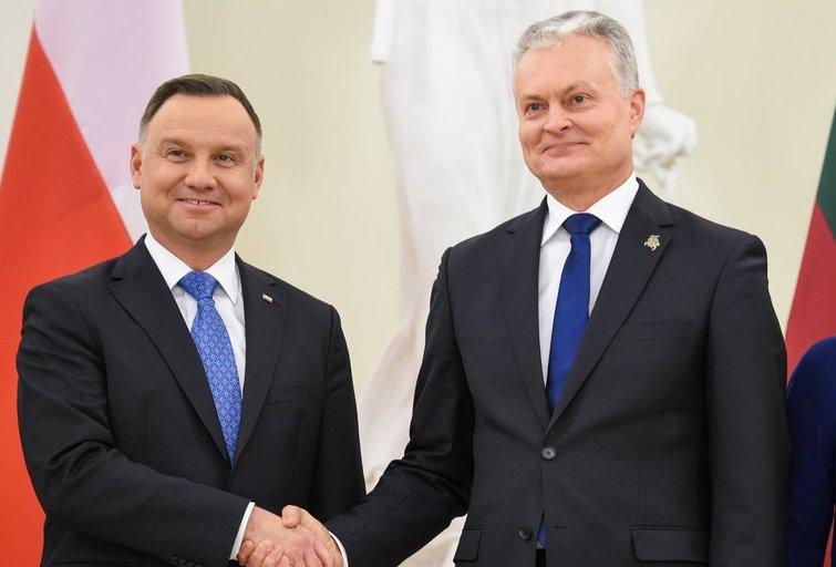 Lenkijos prezidentas Andrzejus Duda susitiko su Gitanu Nausėda (nuotr. Fotodiena/Justino Auškelio)