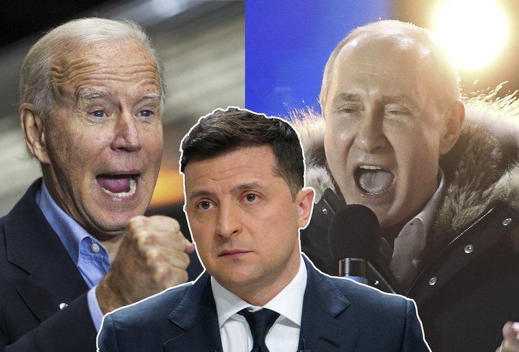 """Ukrainos pagalbos šauksmas: """"netikėta, kad šovinius Rusijos ginklui padavinės JAV"""" (nuotr. SCANPIX) tv3.lt fotomontažas"""